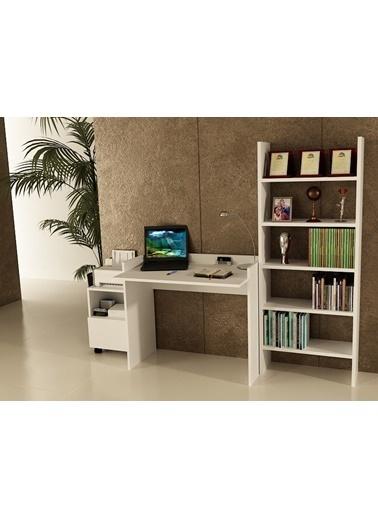 Sanal Mobilya Sirius Dolaplı Kitaplıklı Çalışma Masası 90-Gk-6A Beyaz